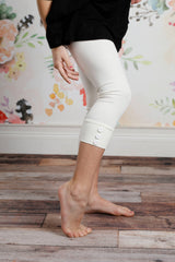 Capri Sutton Button Leggings - Soft White