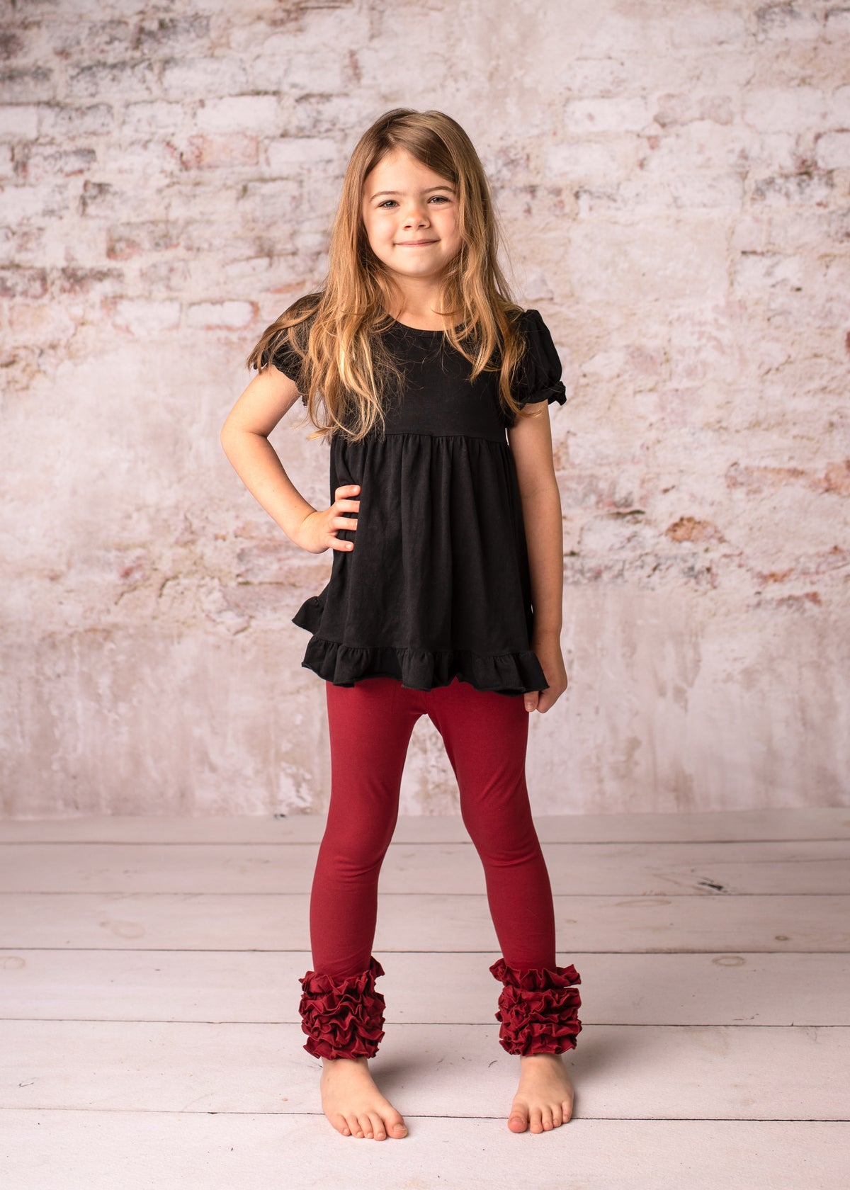 Icing Ruffle Leggings - Wine