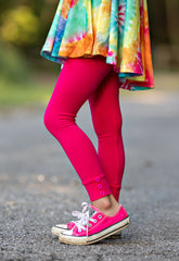 Sutton Button Leggings - Shocking Pink