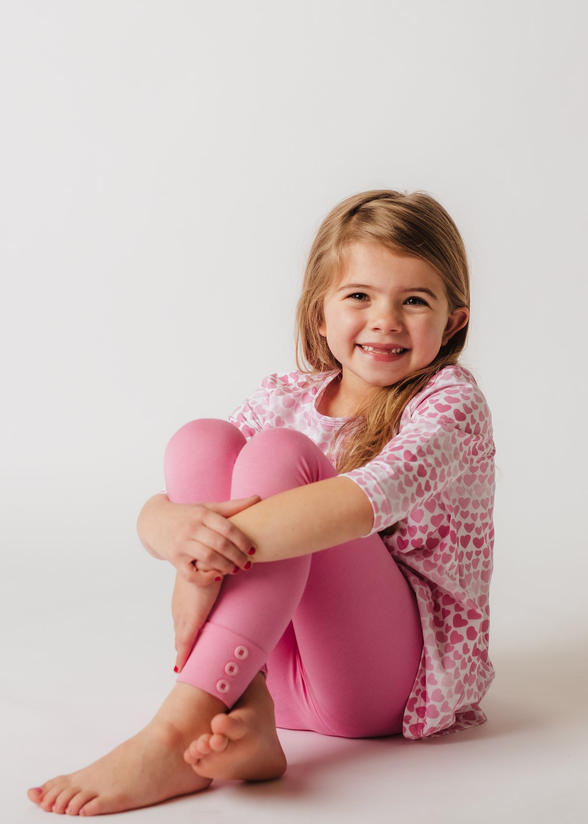 Sutton Button Leggings - Perfectly Pink