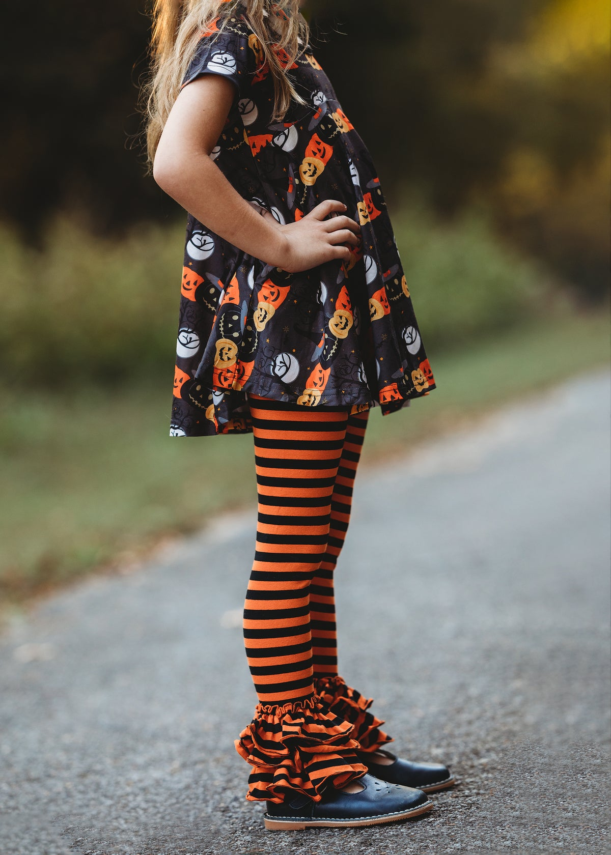 Bella Triple Ruffle Pants - Black/Orange