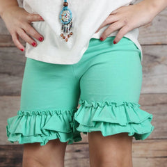 Ruffle Shortie - Dark Mint - Pearls and Piggytails