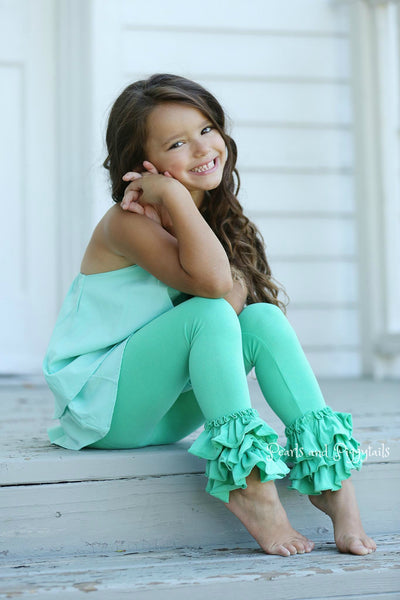 Bella Triple Ruffle Pants - Dark Mint