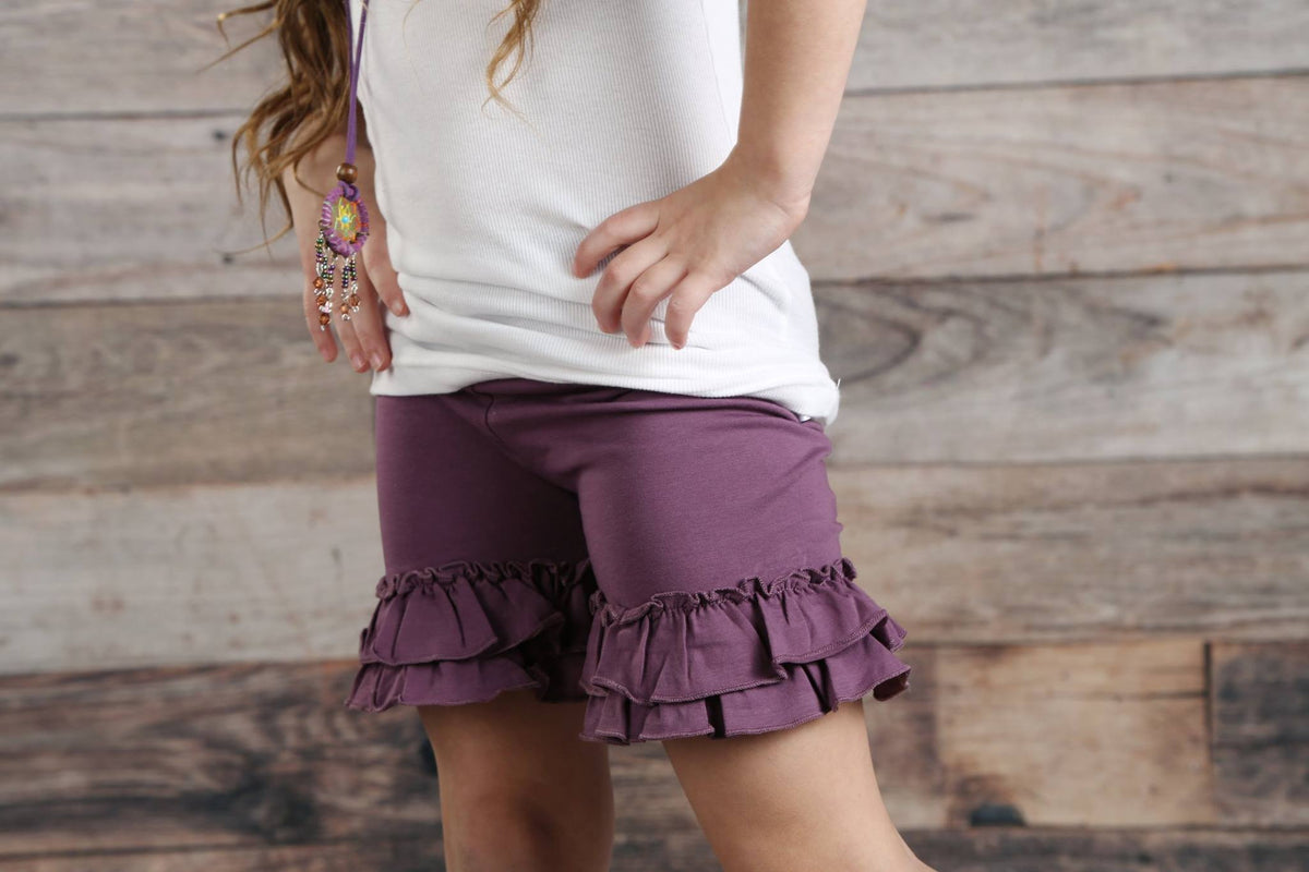 Ruffle Shortie - Eggplant - Pearls and Piggytails