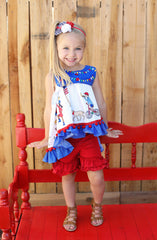 Ruffle Shortie - Firecracker - Pearls and Piggytails