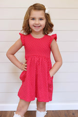 Hazel Dress - Melon Polka Dot