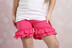 Ruffle Shortie - Hot Pink - Pearls and Piggytails