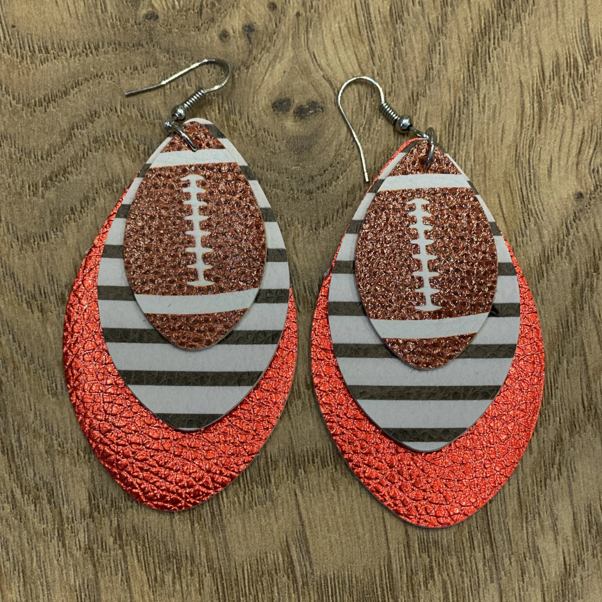 W&W Football Earrings - Black Stripe & Red