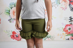 Ruffle Shortie - Moss - Pearls and Piggytails