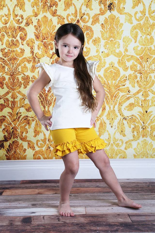 Ruffle Shortie - Mustard - Pearls and Piggytails