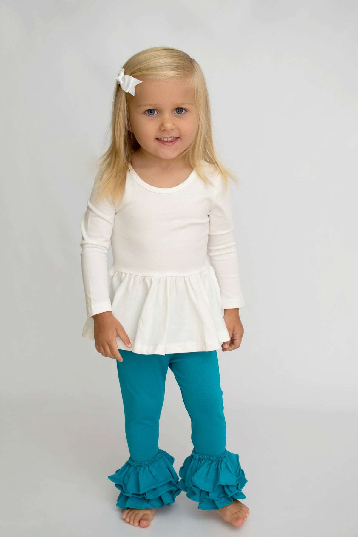 Bella Triple Ruffle Pants - Mermaid
