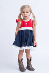 Victoria Dress - Red / Blue