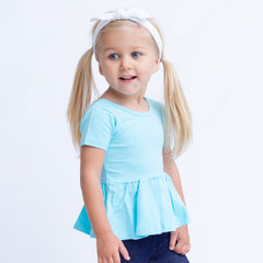 Emmy Short Sleeve Peplum - Aqua