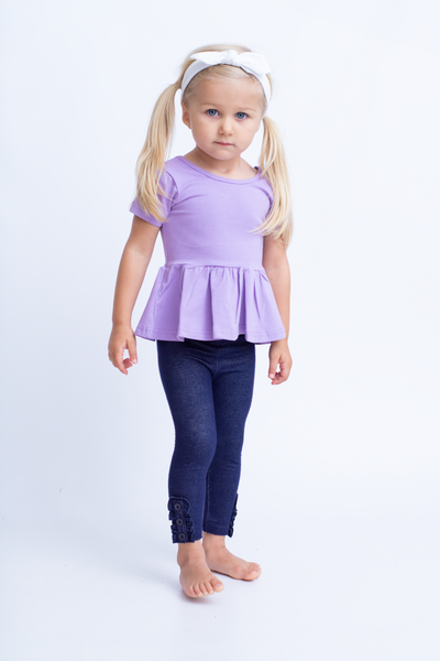 Emmy Short Sleeve Peplum - Purple