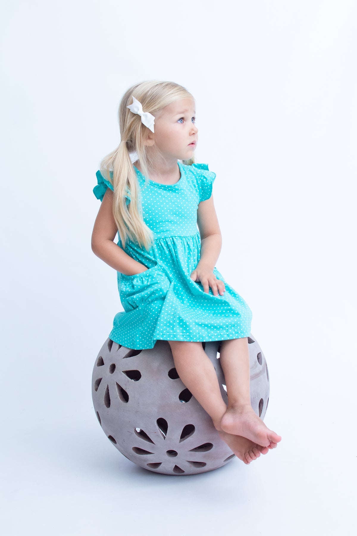 Hazel Dress - Seamist Polka Dot