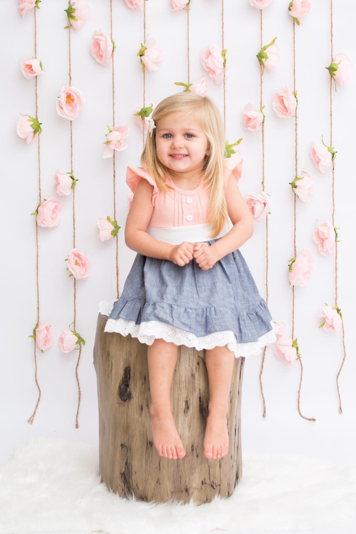 Victoria Dress - Peach / Chambray