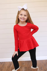 Peplum Long Sleeve - Red