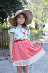Crochet Flutter Dress - Coral