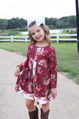 Bargain Boutique Floral Button Dress - Wine
