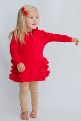 Riley Ruffle Jacket - Red
