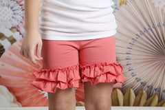 Ruffle Shortie - Salmon - Pearls and Piggytails