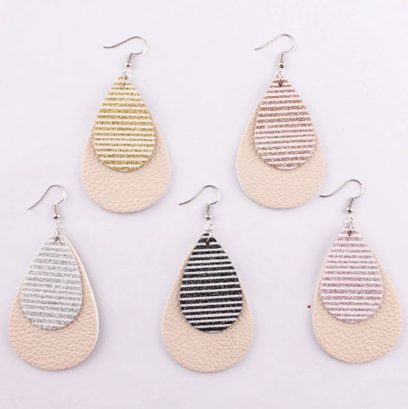 Glitter Stripe Tear Drop Earring - 5 Colors