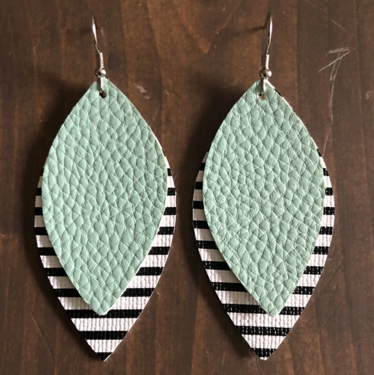 W&W Teardrop Leaf Earrings - Black Stripe & Mint