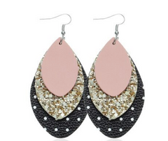 W&W Teardrop Leaf Earrings - Blush Glitter & Polka Dot