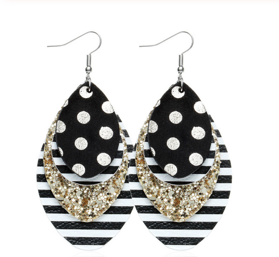 W&W Teardrop Leaf Earrings - Polka Dot Glitter & Stripe