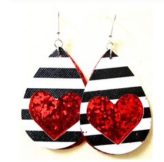 W&W Teardrop Leaf Earrings - Stripe & Red Glitter Heart