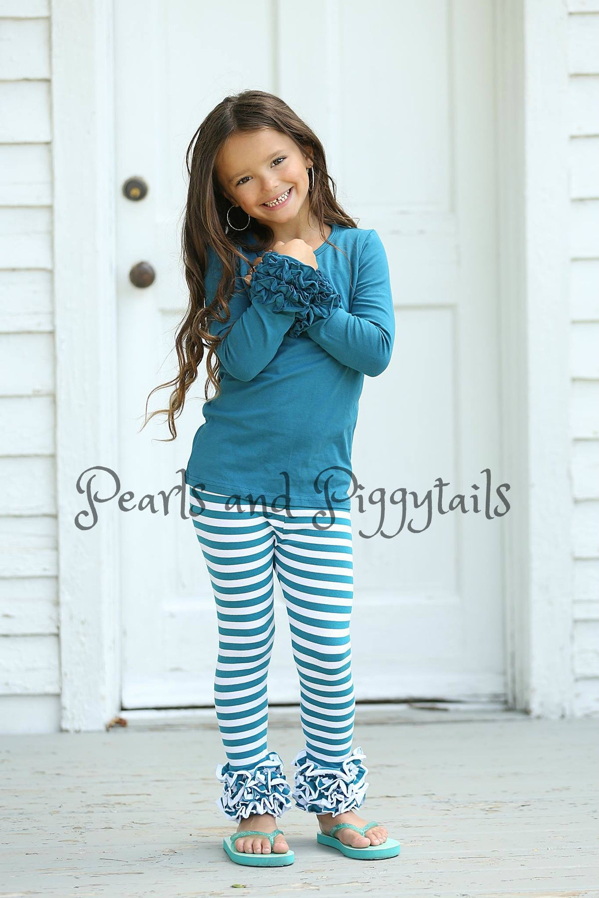 Icing Ruffle Leggings - Jade Stripe - Pearls and Piggytails