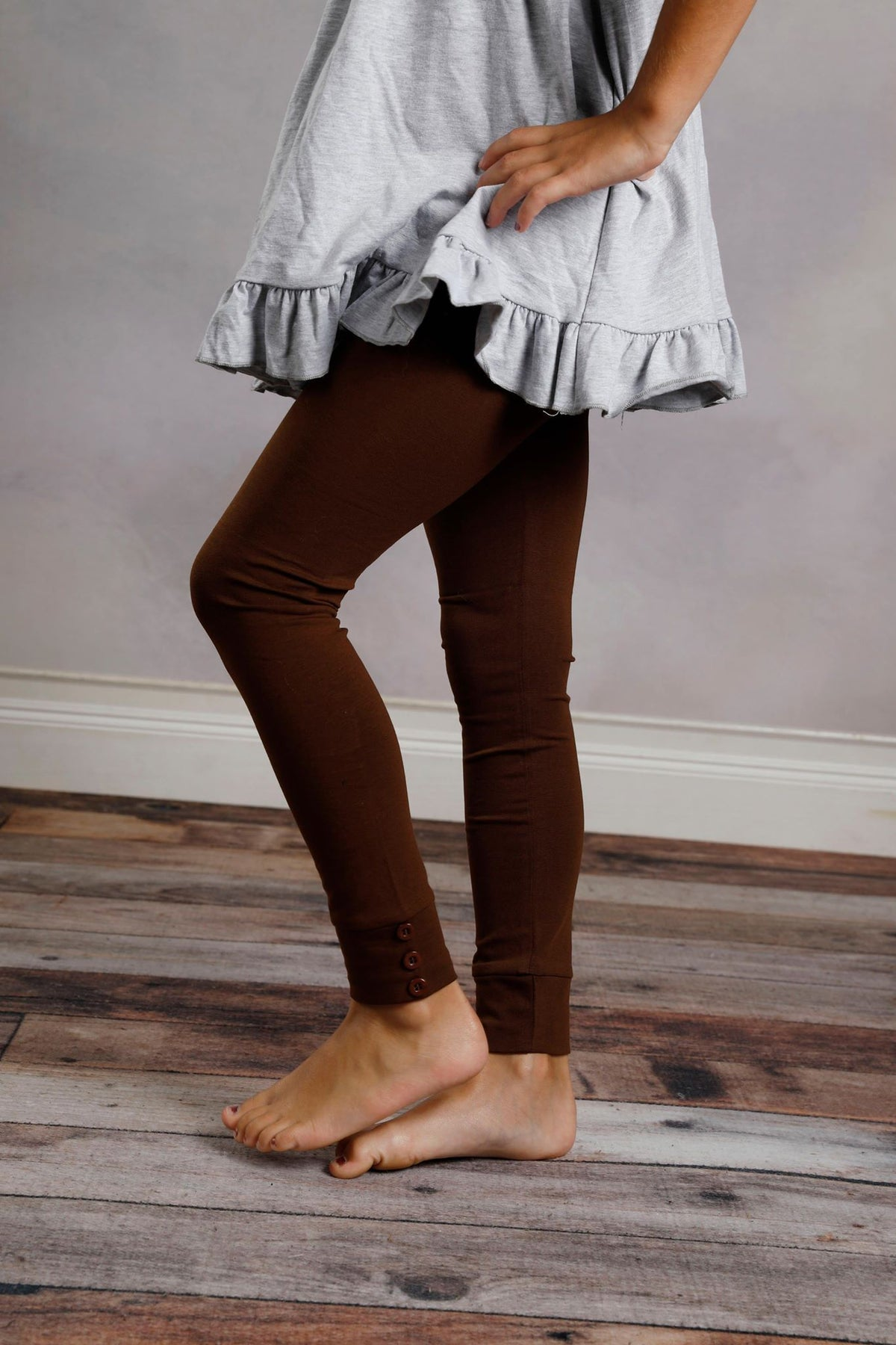 Sutton Button Leggings - Mocha