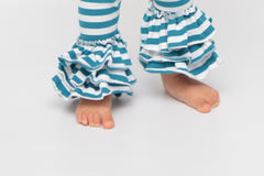 Bella Triple Ruffle Pants - Jade Stripe