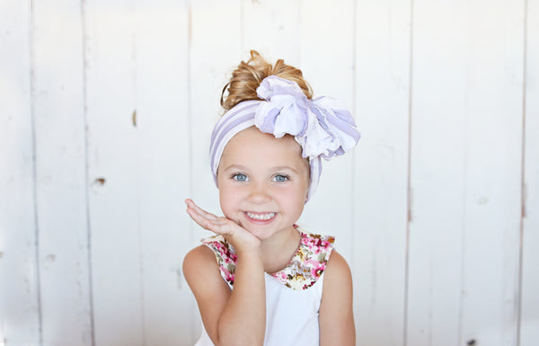 Messy Wrap Headband - Purple/White