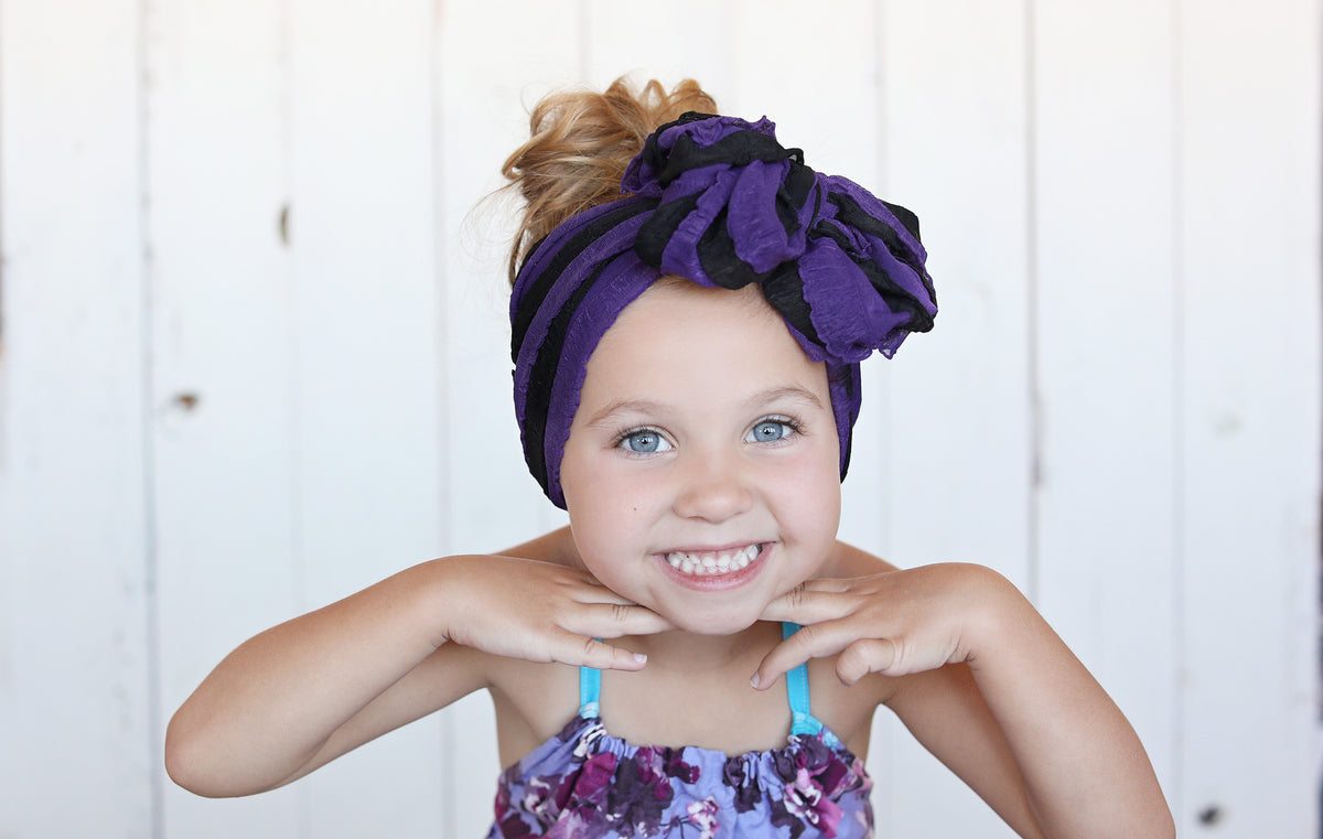 Messy Wrap Headband - Black/Purple