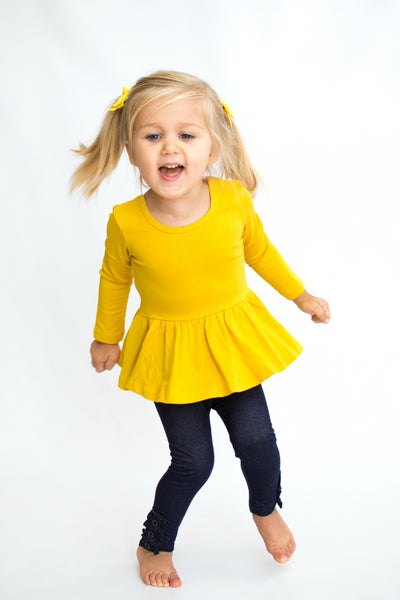 Peplum Long Sleeve - Mustard