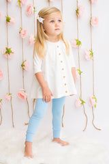 Sutton Button Leggings - Light Blue