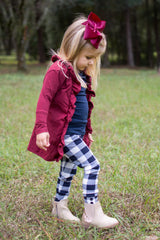 Sutton Button Leggings - Navy Buffalo Plaid