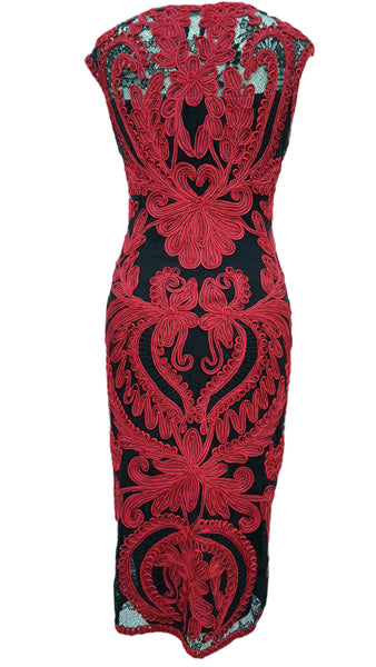 Delaney tapework red black dress by Phase Eight Size 10