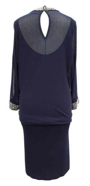 Phase Eight Emily embellished blouson navy dress Size 8 RRP £110!!