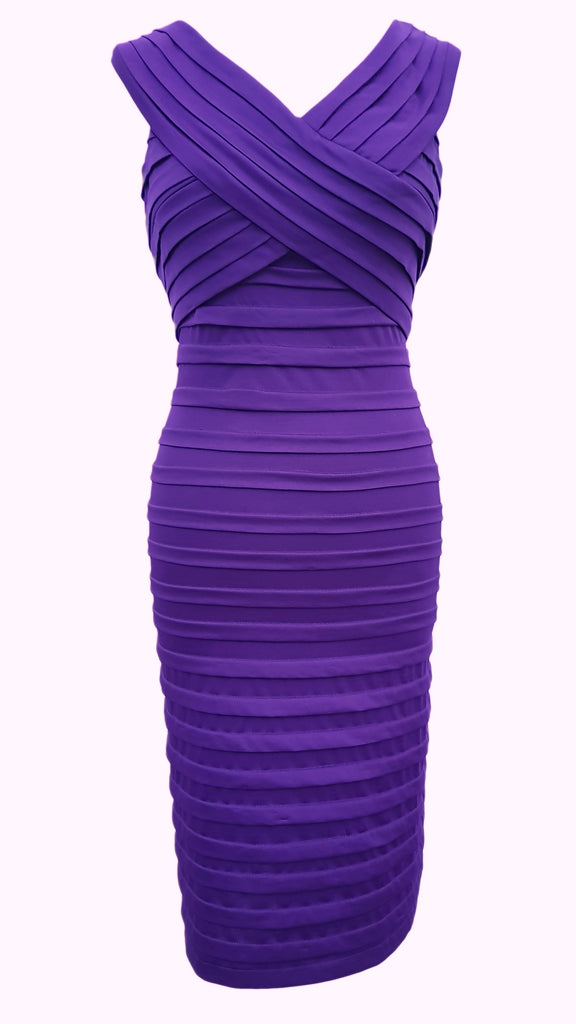 Pleated purple bodycon dress by Phase Eight Size 12