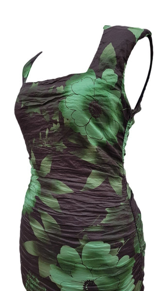 Phase Eight Teresa Crush dress black and green Size 8