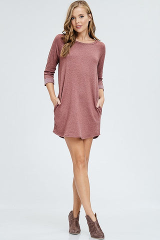 Julie Raglan Dress in Brick
