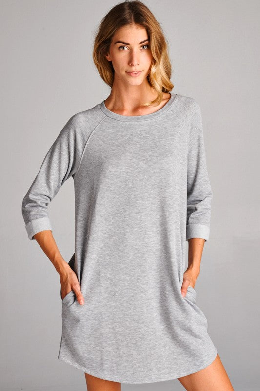 Julie Raglan Dress in Heather Gray