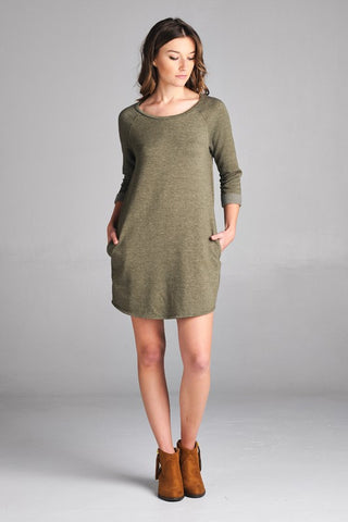 Julie Raglan Dress in Olive