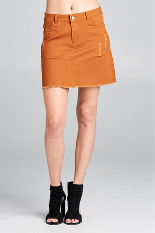 Moto Denim mini skirt Camel