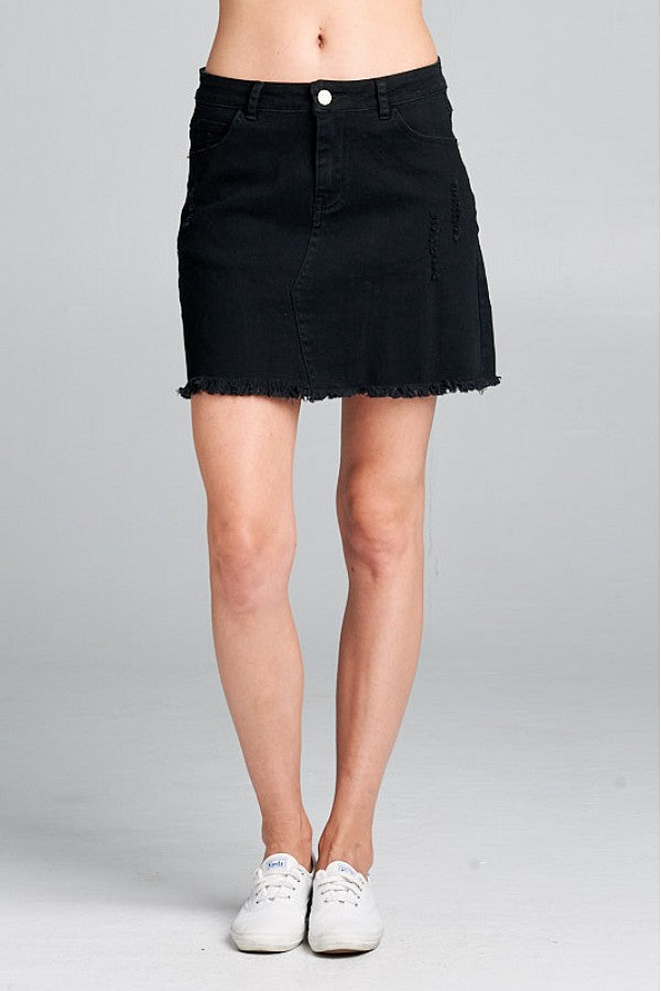 Moto Denim mini skirt Black