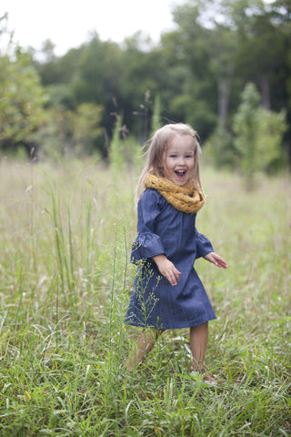 Chambray ruffle sleeve dress - toddler