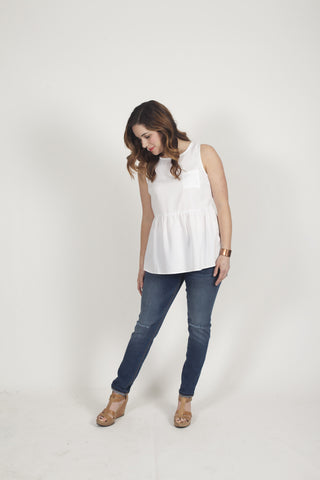Maven peplum top in ivory