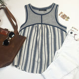 Rae striped top with trim detail
